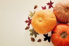 Calabazas y hojas de otoño en fondo de madera acción de gracias y concepto de Halloween Visión superior Fotografía de archivo libre de regalías