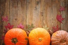 Calabazas y hojas de otoño en fondo de madera acción de gracias y concepto de Halloween Visión superior Imagen de archivo libre de regalías
