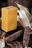 Calabazas y maíz para la decoración de la acción de gracias Fotografía de archivo