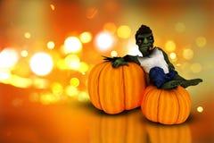 calabazas y zombi de 3D Halloween Fotos de archivo