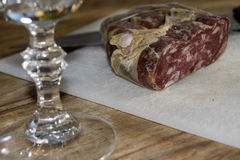 Calabese soppressata. Traditional calabrese speciality: soppressata salami royalty free stock photography