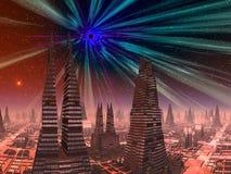 Calabozo sobre ciudad futurista Foto de archivo libre de regalías