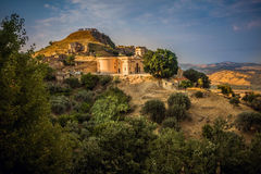 Calabria. The ancient village of Brancaleone Superiore, with the restored church, Calabria, Italy stock image