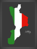 Calabria map with Italian national flag illustration Royalty Free Stock Photo