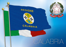Calabria regional flag, italy Royalty Free Stock Photography