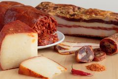 Calabrian加香料的食品 免版税图库摄影