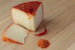 Calabrian kaas met Spaanse peper royalty-vrije stock afbeelding