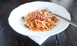 Calabrian pasta with capers, anchovies, olives and taralli Stock Photography