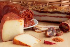 Calabrian spiced food products. stock image