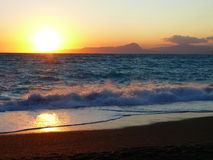 Calabrian sunset. Sunset under Tyrrhenian sea in Italy Stock Images
