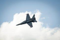 Calabrone di F 18 dall'aeronautica svizzera in volo Immagine Stock Libera da Diritti