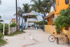 CALAFATE DE CAYE, BELICE - 20 DE NOVIEMBRE DE 2017: Isla del calafate de Caye en el mar del Caribe Sandy Street con la muestra lo fotografía de archivo
