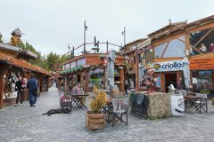 Calafate in Santa Cruz Province, Argentina. Street view in the town of El Calafate, Patagonia, Argentina stock photography