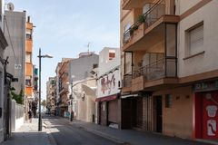 Street view Calafell town in Spain. Calafell, Spain - August 13, 2014: Street view Calafell town in Tarragona region, Catalonia, Spain Stock Photo
