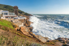 Calafuria, Leghorn - Italy. Ancient tower during a storm in Tusc Royalty Free Stock Photography