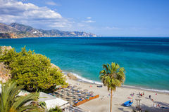 Calahonda Beach in Nerja on Costa del Sol. Nerja, resort town on Costa del Sol in Andalucia, Spain, Calahonda beach at Mediterranean Sea royalty free stock image
