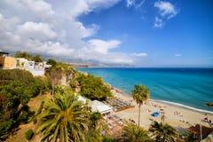 Calahonda Beach in Nerja. Calahonda Beach in resort town of Nerja, Costa del Sol, Andalucia, Spain Stock Images