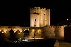 Calahorra Tower in Cordoba at Night Stock Images