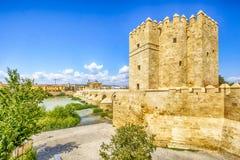Calahorra Tower in Cordoba - Spain. Cordoba, Spain, Andalusia. callahora tower and roman bridge on guadalquivir river stock images