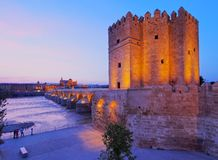 Calahorra Tower in Cordoba, Spain Royalty Free Stock Images