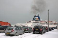 Calais Ferryport (Francia) en tiempo severo Imagen de archivo
