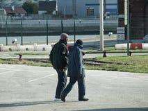 Calais-Flüchtlinge lizenzfreie stockfotografie