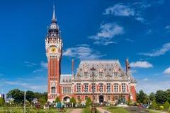 Calais-Flamen und Neo-Renaissance-Stadt Hall France stockbilder