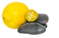 Calamansi, Lemon and Zen Stones I Royalty Free Stock Photo