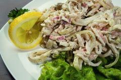 Calamar con las cebollas, ensalada en una placa, mariscos mezclados de la ensalada de los mariscos Imagenes de archivo