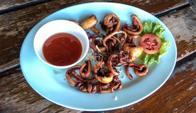 Calamar de los mariscos en plato con la salsa de chiles fotos de archivo libres de regalías