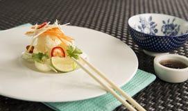 Calamar de sal & de pimenta com yuzu & wasabi fotografia de stock