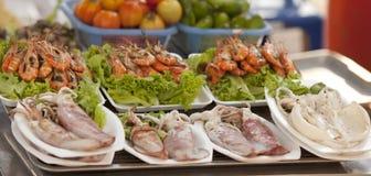 Calamar e alimento de mar imagem de stock