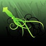 Calamar en el mar stock de ilustración