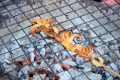 Calamar fresco asado a la parrilla con carbón de leña Imágenes de archivo libres de regalías