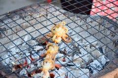 Calamar fresco asado a la parrilla con carbón de leña Foto de archivo