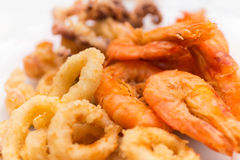 Calamar fritado do camarão Imagem de Stock Royalty Free