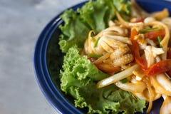 Calamar frito con el huevo salado Fotos de archivo libres de regalías