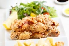 Calamar frito delicioso del bebé - comida tradicional española Imágenes de archivo libres de regalías