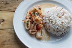 Calamar frito tailandés en salsa y arroz de la albahaca Foto de archivo
