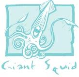Calamar gigante en azul Fotografía de archivo libre de regalías