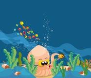 Calamar gigante no oceano ilustração royalty free