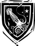 Calamar heráldico del escudo Fotografía de archivo libre de regalías