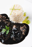 Calamar na tinta com arroz e salsa Fotografia de Stock