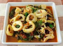 Calamar picante del alimento tailandés imagen de archivo