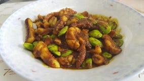 Calamar ster-encendido con curry Imagen de archivo