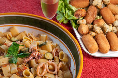 Calamarata with Zucchini Shrimps and Squids Royalty Free Stock Image