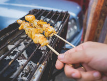 Calamares grelhados alimento da rua Imagens de Stock