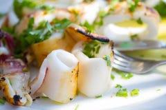 Calamares grelhados com vegetais Imagem de Stock Royalty Free