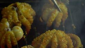 Calamares pequenos em uma grade Culinária vietnamiana Restaurante na ilha de Phu Quoc video estoque