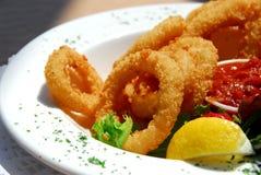 calamari που τηγανίζεται Στοκ Εικόνες